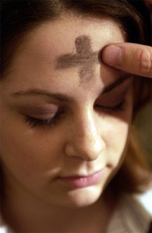 Picture of a girl with ashes on her forehead