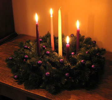 [Re-light the three purple candles and the pink candle] We Celebrate the Birth of Christ In the season of Advent we have used the Advent wreath and its ... & Christmas Devotion: The Lighting of the Christ Candle - Mark D. Roberts