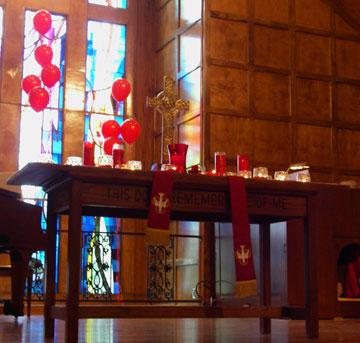 st. mark chancel pentecost red balloons