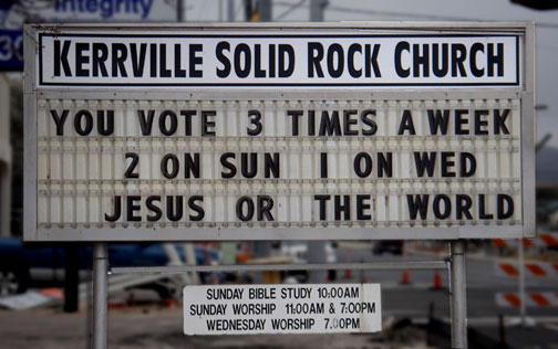 church vote sign kerrville