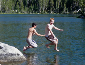 Swede Lake jumping in