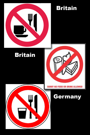 no food drink signs britain germany